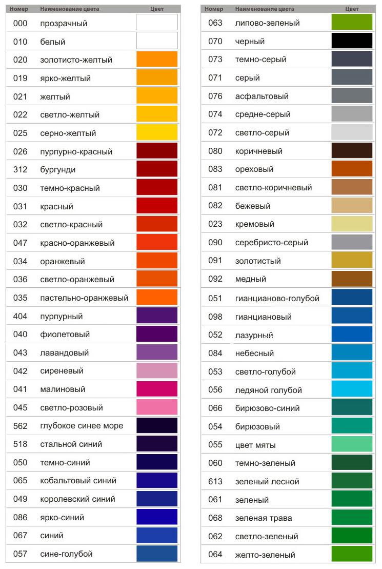 Раскладка цветов пленки Oracal 641 для оклейки выставочных конструкций